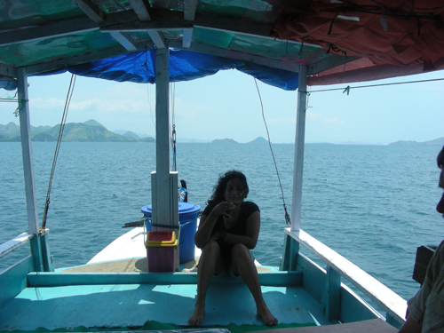 Sailing on the Indonesian Archipelago in an old wooden boat heading toawrds Rinca Island.
