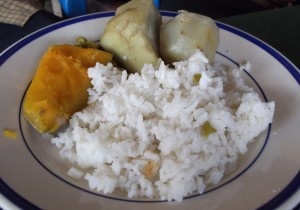 Meal of rice, pumpkin, cassava, sweet potato and brinjal