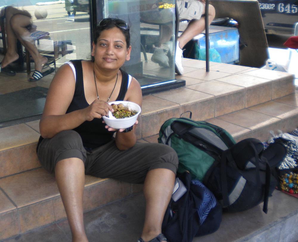 At Pattaya - couldnt wait to dig into this delicious combo of rice, beans, clam and something else!