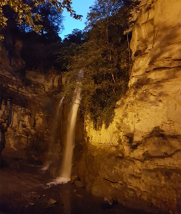 waterfalls inside sulphur springs