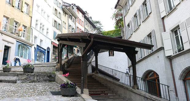wooden stairs of lausanne